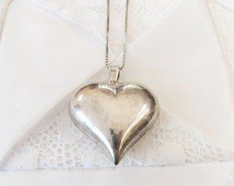 Vintage Sterling Silver Large Puffy Heart Pendant, Big Heart Women's Pendant Jewellery