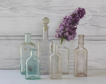 Vintage Lot of 6 Small Clear Glass Bottles, Antique Small Glass Apothecary Bottles
