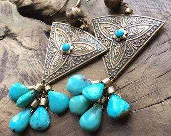 Arizona turquoise earrings, Bohemian triangle & teardrop earrings, Sleeping Beauty, Sky blue