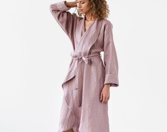 Linen bath robe in various colors. Dressing gown. Perfect gift for woman.