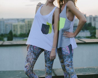 Womens Printed Activewear Tank Top for Yoga, Crossfit and General Fitness - Constellation