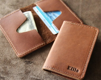 Personalized Groomsmen Fine Leather Business Card Holder Wallet BiFold - Groomsman Gifts - Gifts for Him -Gifts for Grads - The Vincent