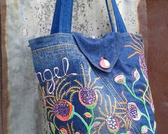 Artisan Hand Embroidery Freestyle Denim Shoulder Bag / Ultimate Boho Hand Embroidery Jeans Denim  Repurposed Jeans Bucket Shoulder Bag