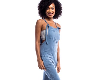 Womens Jumpsuit - Drop Crotch Playsuit - 'Mudra' - Jersey Cotton Yoga Pants Yoga Clothes Overalls Romper