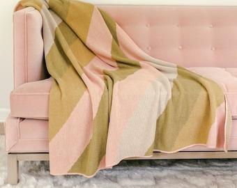 A Beautiful Mess x Etsy Calhoun & Co. Knit Blanket - Muted Rainbow Diagonal Stripe - Limited Edition