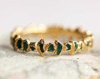 Emerald Wedding Band. Emerald Ring. Emerald Stacking Ring. Raw Emerald Ring. Rough Emerald Ring. Green Emerald Ring. Eternity Emerald Ring.
