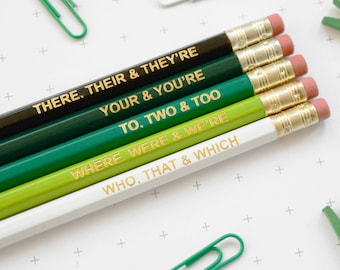 GREEN GRAMMAR PENCILS Back to School English Teacher Gift Graduation Stocking Stuffer Coloured Pencil Set Present Colourful Retro Hex Gold