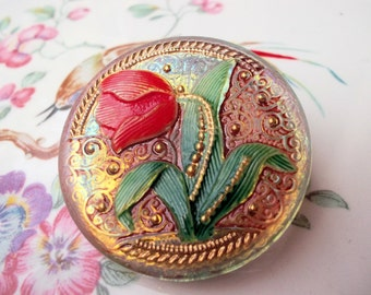 Brooch vintage czech glass button Jablonec nad Nisou hand painted flower romantic brooch