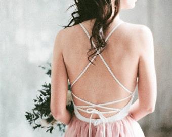 YOKANGA // boho wedding dress, pink beach wedding dress with slit skirt, unique wedding dress with high side slit, chic hippie, milamira