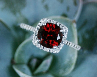 July Birthstone Ruby Sterling Silver Ring