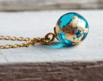 """Necklace Mini Earth globe,golden Necklace,minimalistic Necklace,tender Necklace """"blue planet"""" hand-gilded 14K"""