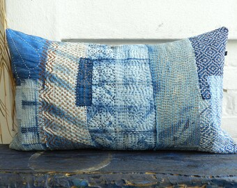 Sashiko BORO Indigo pillow Kakishibu heavy Embroidery german vintage Linen cushion white sky blue Patchwork Quilt 35 x 60 cm 14 x 24 inches