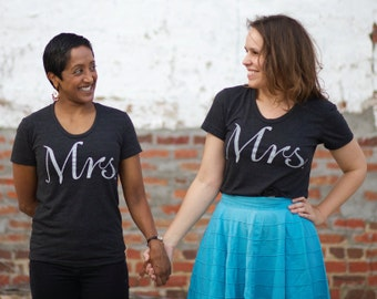 Mrs Mrs Matching Tshirt Set, Gay Wedding Gift for Couples, LGBTQ Gay Pride Shirt Equality T-Shirts, BlackbirdSupply SALE