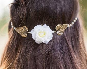"Headband mariage ""Nature "" perles nacrées, fleur blanche"