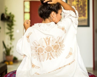 SALE Bohemian Wedding Kimono Style Mexican Embroidered Robe Resort Wear for Women Destination Mexico Wedding Bridal Party Kaftan Style