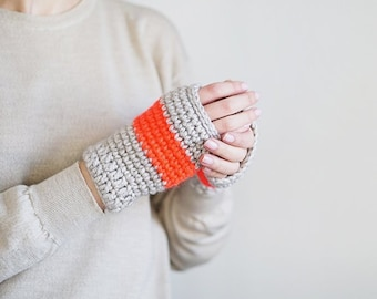 Light Gray and Neon Pink Fingerless Mittens, Thick Wool Gloves, Arm Warmers, Women Fall Accessories