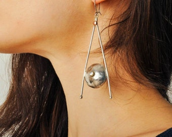 Vintage Long Modernist Sterling Silver Earrings