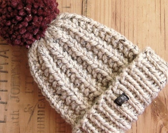 Mens handmade HoBo Lofty bobble hat. Thick chunky hand knit beanie large removable dark red pom pom. Neutral beige tweed wool blend XS to XL