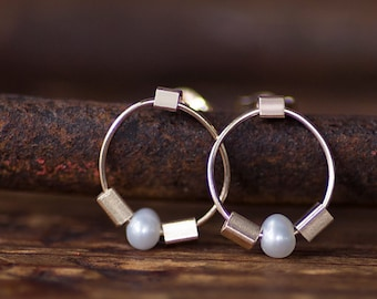 Pearl Hoop Earrings, Natural Pearl Post Drop Earrings, Mini Circle 14K Gold Earrings, June Birthstone, by Prairieoats