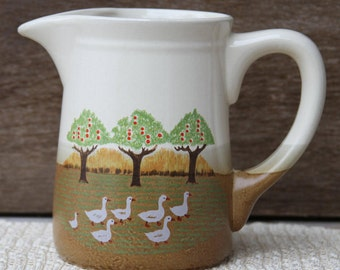 Until the Geese Come Home Hand Painted Vintage Pottery Country Home Decor Pitcher Jug in White Green and Brown with Geese and Apple Trees