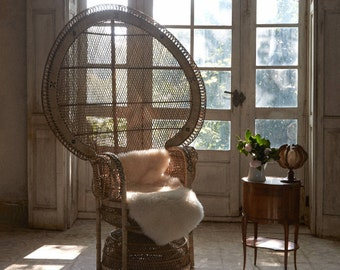 vintage style iconic BIG PEACOCK CHAIR Emmanuelle chair- Natural