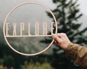 EXPLORE hoop wall hanging / Adventure Nursery / Adventure decor / Mountain Decor