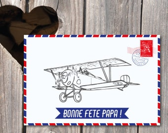 Father's Day Card vintage airplane theme for traveler dad map to print, size 10x15 cm, recto, pro printing on demand