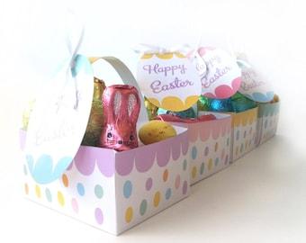 Easter Egg Baskets, DIY Pastel Easter Favor Box Baskets with Gift Tags, Easter Bunny Gift, Easter Bunny Favors, DIY Easter Gift Baskets