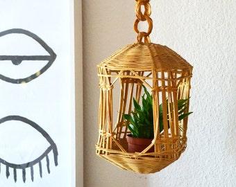 Vintage bohemian Wicker hanging basket planter rattan boho 1970s 70s