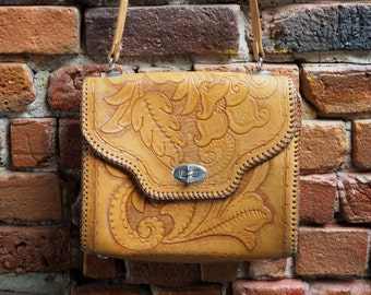 Women's Tan Brown Leather Patterned Boho Cross Body Hand Bag With Adjustable Strap