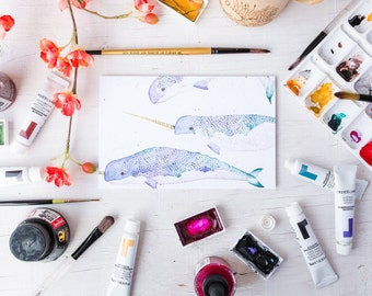 Narwhal Greeting Card Narwhale Card Unicorn Of The Sea Narwhal Watercolour Painting Narwhal Lover Gift Whale Gift Whale Theme Baby Shower