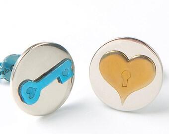 Lock and Key earrings, love studs heart, lock earring heart, anniversary gift for girlfriend, titanium earring post, teen girl jewelry lover