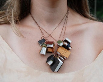 Miniature Leather Bound Books on a Library Necklace, Statement Jewelry, Mini journals and sketchbooks Handmade by Peg and Awl