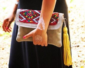 Handmade Moroccan Bag, Clutch, Vintage, Berber, Boho, Leather Tassel, Kilim, Berber, Handmade, Grey Suede, Gifts for her, Xmas Gifts