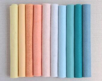 Wool Felt // Mermaid Lagoon // Pastel Water Color Felt Palette, Wool Felt Sheets, Merino Wool Felt Kit, DIY Mermaid Doll and Tail, Kid Craft