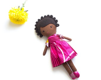 RESERVED for Etsy Design Awards, Black Rag Doll in Gift Box, African Heritage Doll with Bantu knotted hairstyle.