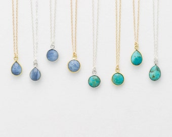 Turquoise or Blue Opal Tiny Stone Pendant Necklace • Dainty Teardrop/Circle Necklace Gift for Sisters, Friends Gifts... • LN720, LN721
