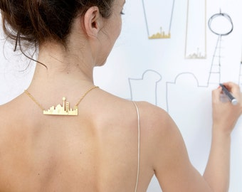 Berlin Necklace, Berlin Skyline Chain Necklace, Travel Necklace, Berlin Map, Berlin Gift, Gold Plated City Scape View