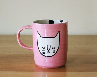 Ready to ship: Pink Cat Face Mug with Black Polka Dots on Interior (free shipping)