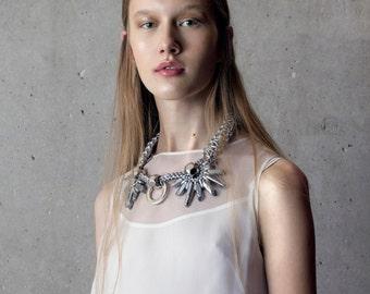 LUNAR statement necklace. mystic silver quartz crystals, statement necklace, statement jewelry, crystal necklace, boho necklace, bold