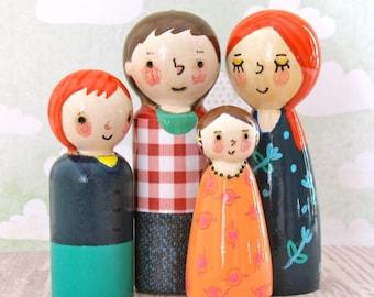 Family Peg Dolls by Walter Silva, Modern Toys, Heirloom Handmade Toys, Family, Doll House, playtime, handmade, non toxic toys, art dolls