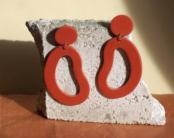 Organic Shape Large Statement Earrings / Abstract Earrings / Polymer Clay / Terracotta Red Brown