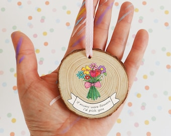 Mother's day flowers ornament / personalised Mothers Day gift / mum birthday gift / mothers day flowers / card alternative gift