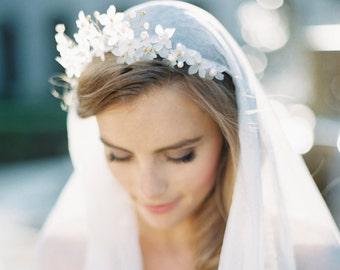 THEODORA | Floral Crown & English Silk Veil