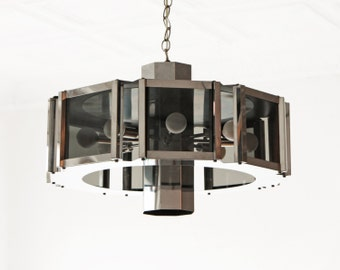 Robert Sonneman Chandelier Chrome and Smoked Glass
