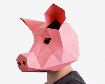 Pig Mask, Pig Paper Craft Template, DIY Printable Animal Mask, Instant Pdf Download, 3D Low Poly Mask, Origami Pig, Pig Gift Idea