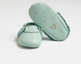 "Genuine Baby Leather Moccasins Teal ""Nuna"" - featuring geometric fox design"