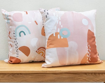 Zoella x Etsy Cushion handmade from organic cotton, unique abstract design, eco-friendly pillow cover