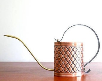 Copper watering can, 1960s vintage plant cactus boho chic bohemian folk rustic country cottage garden gardening decoration nature