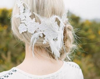 Wild Feather & Lace Headpiece, Boho Headpiece, Bridal Headpiece, Headdress, Feather Hairclip, Lace Headdress, Bridal Lace Hair Piece, Boho